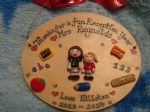 2 character Teacher/ Teaching Assistant Classroom Personalised 3d Thank You Sign Plaque Gift Handmade OVAL Any Phrasing